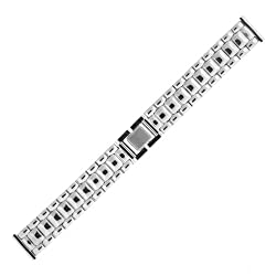 Watch Band Mens Link Metal Stainless Steel Fold Over Clasp 18 millimeter Tech Swiss