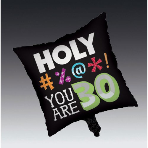 Creative Converting Holy Bleep 30th Birthday 2-Sided Square Mylar Balloon