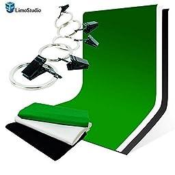 LimoStudio 6\' x 9\' Studio Backdrop Green / Black / White Backdrop Background Chromakey with 5x Backdrop Holders, AGG1416