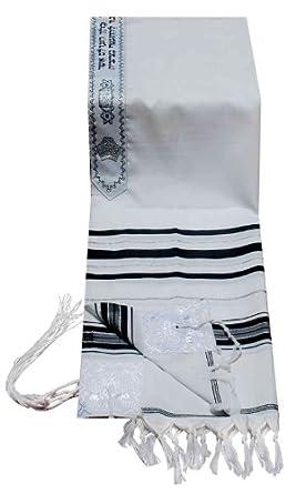 "Acrylic Tallit (imitation Wool) Prayer Shawl in Black and Silver Size 24"" L X 72"" W"