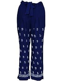 ADA Needlecraft Designer Chikan Women's Ethnic Cotton Palazzo Pants A149017