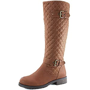 Women's DailyShoes Quilted Round toe Knee High Combat Rider Boot Mid Calf with Side Pocket, 8.5