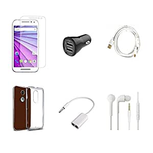 High Quality Combo of Moto G3 Temper Glass + Car Charger 2 USB + Fast Charging Cable + Transparent Back Cover + Audio Splitter Cable