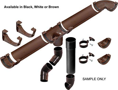 Nero Garage Kit di drenaggio per fino a 6Metri entrambi i lati (totale 12metri) 112mm, semicircolare per grondaia e sistema di tubi 68mm