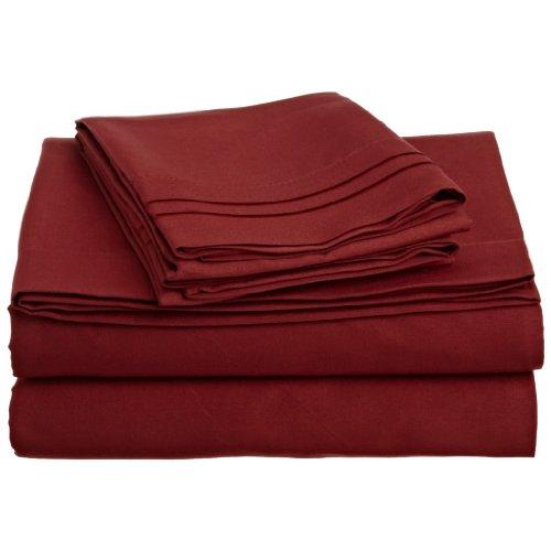 Clara Clark 1500 Collection 4 piece Bed Sheet Set Queen Size, Burgundy