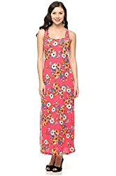 G2 Chic Women's Floral Printed Summer Sleeveless Maxi Dress with Racerback