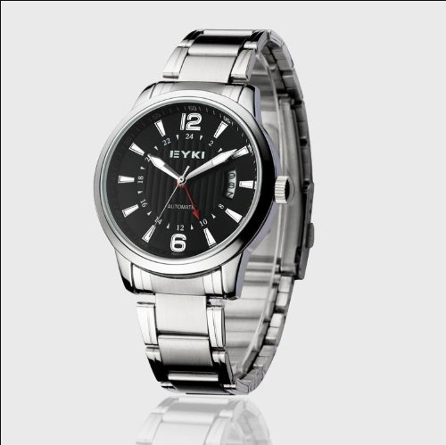 Ufingo-Fashion Casual Automatic Mechanical Steel Band Waterproof Watch For Men/Boys-Black
