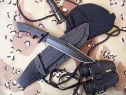 Entrek Sub-Hilt Silhouette Black Blade Double Edged Bowie Style Knife