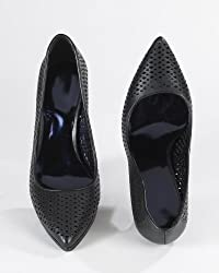 High Heel Platform Pump in Perforated Kid Leather