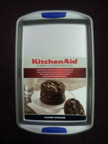 Fine Kitchenaid Baking Sheet Cookie Pan With Silicone Classic Blue Grips Decor