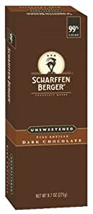 Scharffen Berger Baking Bar, Unsweetened Dark Chocolate (99% Cacao), 9.7-Ounce Packages (Pack of 2)