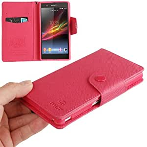 Crazy4Gadget Cross Texture Horizontal Flip Leather Case with Credit Card Slots & Lanyard for Sony Xperia Z / L36H (Magenta)