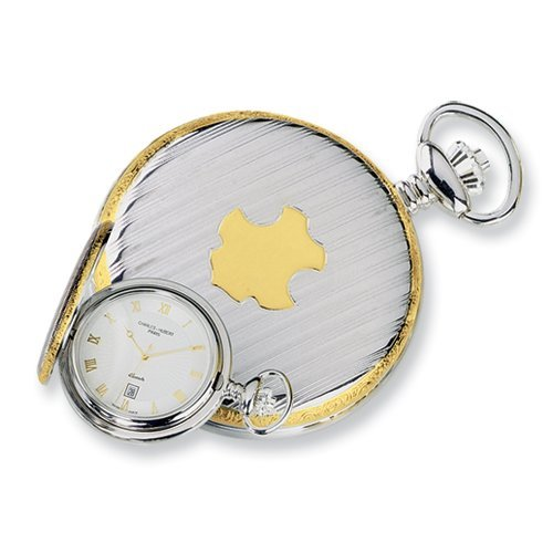 Sterling Silver Two-tone W/shield Wht Dial Pocket Watch by Charles Hubert Paris Watches, Best Quality Free Gift Box Satisfaction Guaranteed