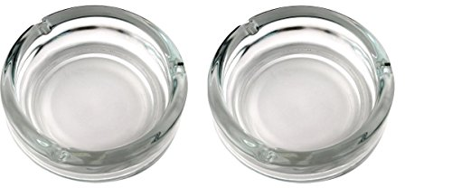 Set of 2, Elegant Round Glass Ashtray