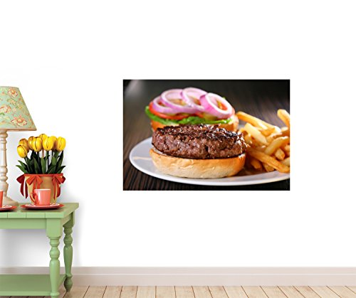 Hamburger With Fries Wall Decal - 18 Inches W X 12 Inches H - Peel And Stick Removable Graphic