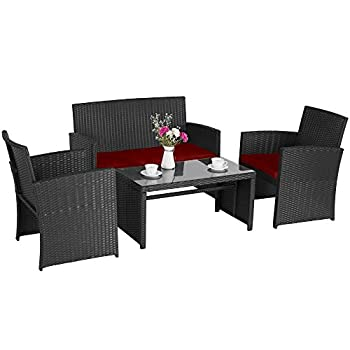 Cloud Mountain 4 Piece Rattan Furniture Set Patio Conversation Set Sectional Wicker Rattan Furniture Outdoor Garden Lawn Sofa Cushioned Set, Black Rattan with Red Cushions