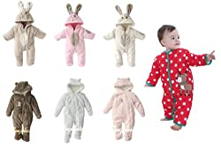 A168® Baby Boy Girl Cute Bunny Animal Fluffy Rabbit Fleece Romper / Snowsuit with Hood / Outfit