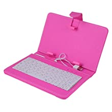 HDE Hard Cover Case With Keyboard For 7 Tablet - Hot Pink