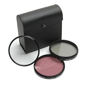 Kodak EasyShare Z712, Z812 IS - 55mm High Resolution 3-piece Filter Set (UV, Fluorescent, Polarizer) - Black