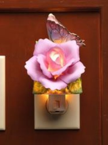 Lavender Rose with Yellow and Pink Butterfly Plug In Night Light - 1