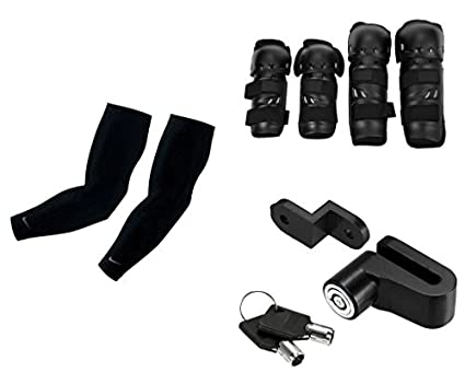Auto-Pearl-Premium-Quality-Bike-Accessories-Combo-Of-Arm-Sleeve-for-Protection-against-Sun,-Dust-and-Pollution-Black-2-Pcs.-&-Fox-Motorcycle-Riding-Knee-and-Elbow-Guard-(Black,-Set-of-4).-&-Premium-Quality-Bike-Disc-Brake-Lock-Disc-Lock-Posh-Lock.