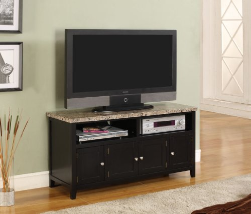Image of Faux Marble With Black Finish Wood TV Stand Entertainment Center With Storage (E007)