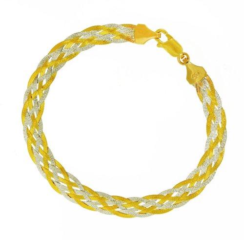 9ct Two-Colour Gold 6 Plaits Herringbone Bracelet 18cm