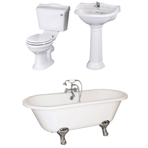 Traditional 1700mm Double Ended Roll Top Bath with Ryther Pottery