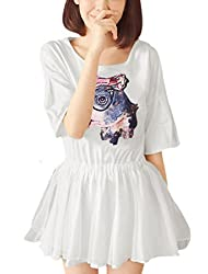 Lady Dog Pattern Batwing Elbow Sleeve Elastic Waist Blouson Dress by uxcell