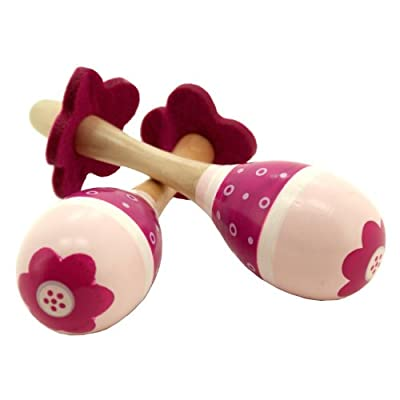 Set of 2 Wooden Maracas - Pink
