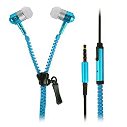 Blue Zipper Design Stylabs 3.5mm In Ear Earbud Stereo Sound Earphones Mini Size Hands-Free Handset With Full Supported Mic For Xiaomi Redmi 2 Prime With 3.5mm Jack