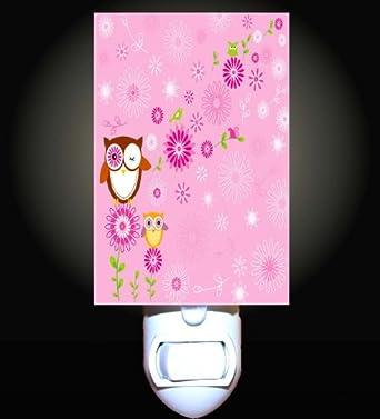 Retro Pink Owls Decorative Night Light Nightlights