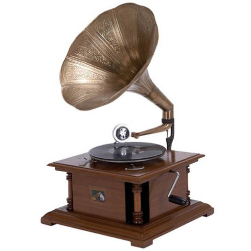 Antique Replica RCA Victor Phonograph Gramophone with Large Engraved Brass Horn