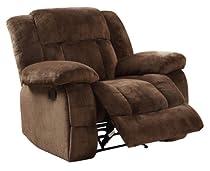 Big Sale Homelegance 9636-1 Laurelton Textured Plush Microfiber Glider Recliner Chair, Chocolate Brown