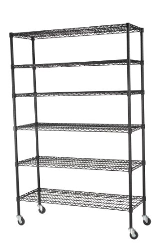 "Sandusky Lee MWS481874-B 6-Tier Wire Shelving Unit with 3"" Rubber Casters, 6 Wire Shelves, Black, 74"" Height x 48"" Width x 18"" Depth"