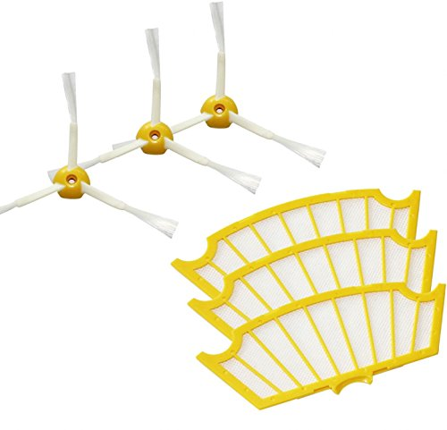 Accessories For Irobot Roomba 581 Vacuum Cleaner Parts, Kit Includes 3 Pack Side Brush And Filter