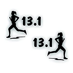 Marathon olympic mile running decal girl for 13 1 window sticker
