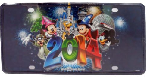 Walt Disney World 2014 Logo Mickey & Gang Metal Car License Plate - NEW