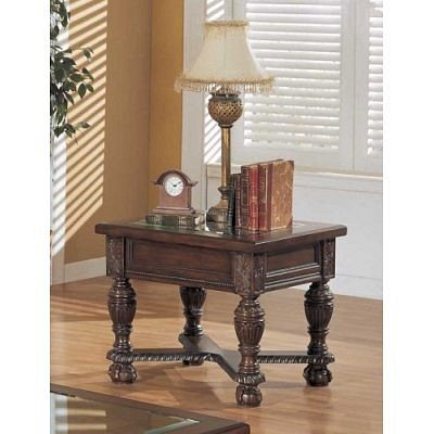 Cheap Dark Mohagany Glass Top End Table By Coaster Furniture (VF_700117)