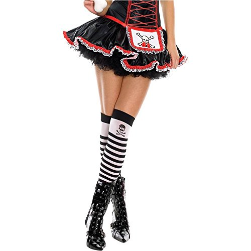 Jolly Roger Opaque Striped Thigh Highs - One Size