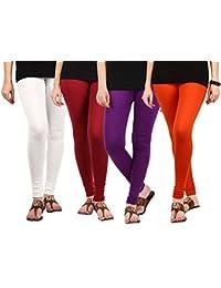 Jbk Arts Women Cotton Lycra Premium Leggings ( Set Of 4 ) ( L4-W-M-PR-O, Multi-Coloured, )