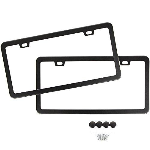 SunplusTrade-Two-Matte-Black-Powder-Coated-Aluminum-License-Plate-Frame-with-Black-Screw-Caps