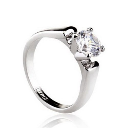 Happy M 18K Yellow/White Gold Plated 1.2 Carat Diamond Cut Cubic Zirconia Solitaire Ring18K White Gold Plated 8