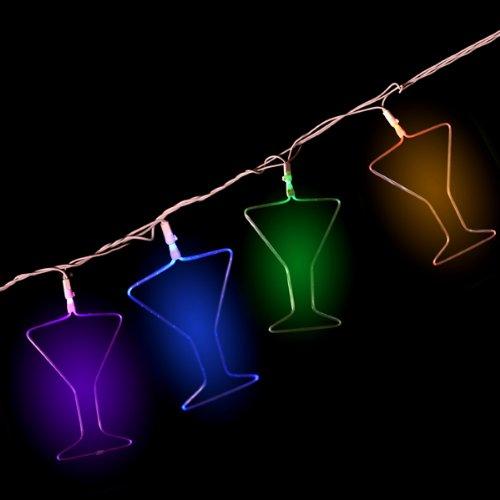 Mr. Light 10 Piece Martini Glass Multi Color LED Fiber Optic String Light Set, Indoor/Outdoor Transformer