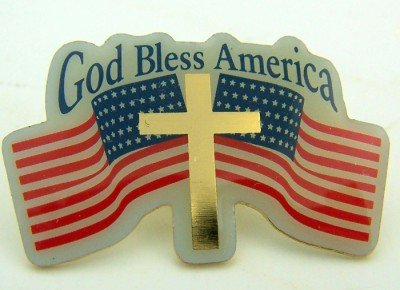 Carded Brass Enameled God Bless USA Two American Flags Cross Patriotic Lapel Pin