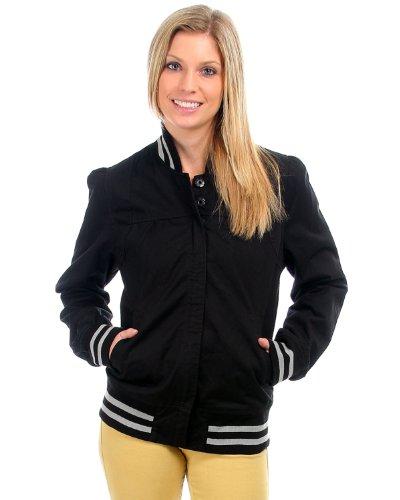 G2 Fashion Square Button Tab Front Baseball Jacket (OW-JKT,BLK-L)