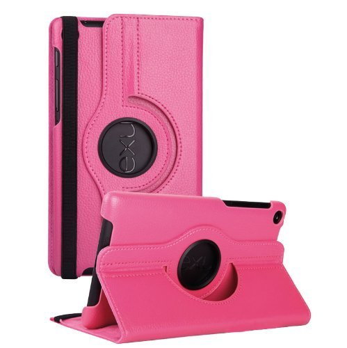 #>>  FHD 360 Rotating PU Leather Case Pouch Cover Skin [Hot Pink] for Google Nexus 7 2nd Gen - 2013 NEW