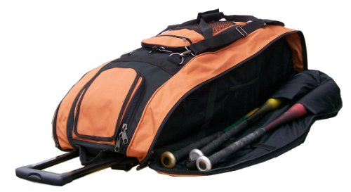 Black & Texas Orange Cobra XL Softball Baseball Catchers Bat Equipment Roller Bag