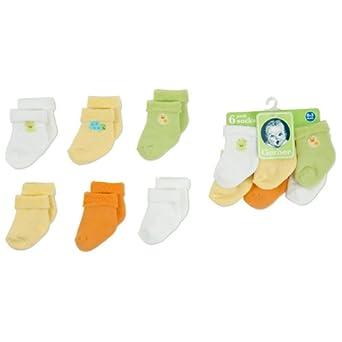 Gerber Unisex-Baby Newborn 6 Pack Variety Cozy Socks, 3-6 Months