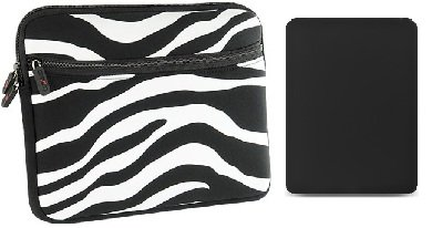 -- Combo Deal -- ZEBRA Safari Black and White EXOTIC Sleeve + BLACK Skin Bumper for Apple iPad {+ 1pc name tag} -- Best Deal on Amazon!